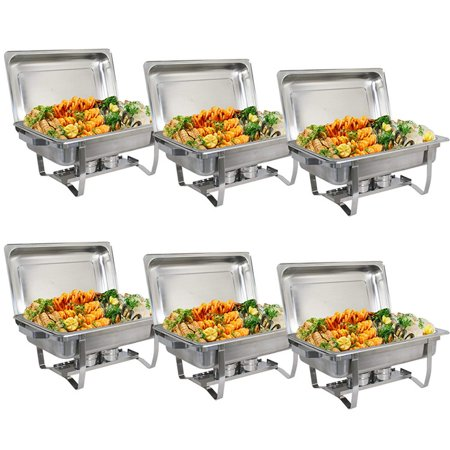 6 Pack Catering Stainless Steel Chafer Chafing Dish Sets 9.5QT Full Size Buffet