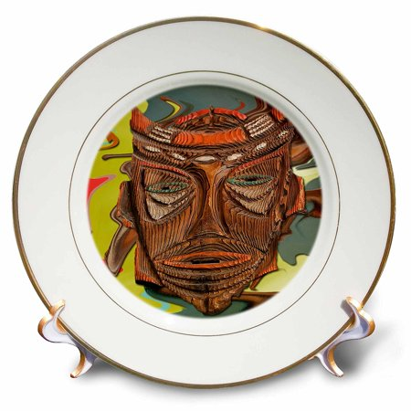 3Drose Cp 52079 1 A Wooden Mask Of A Face With Orange And Green At A Mexican Restaurant With Abstract Background Porcelain Plate  8 Inch
