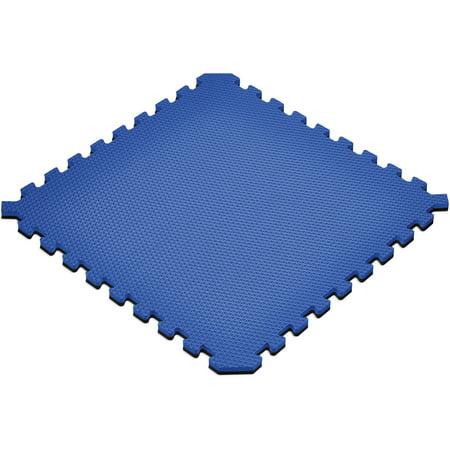 Blue Hard Flooring - Norsk 16 sq ft Interlocking Foam Floor Mat, 4-Pack, Reversible Black/Blue