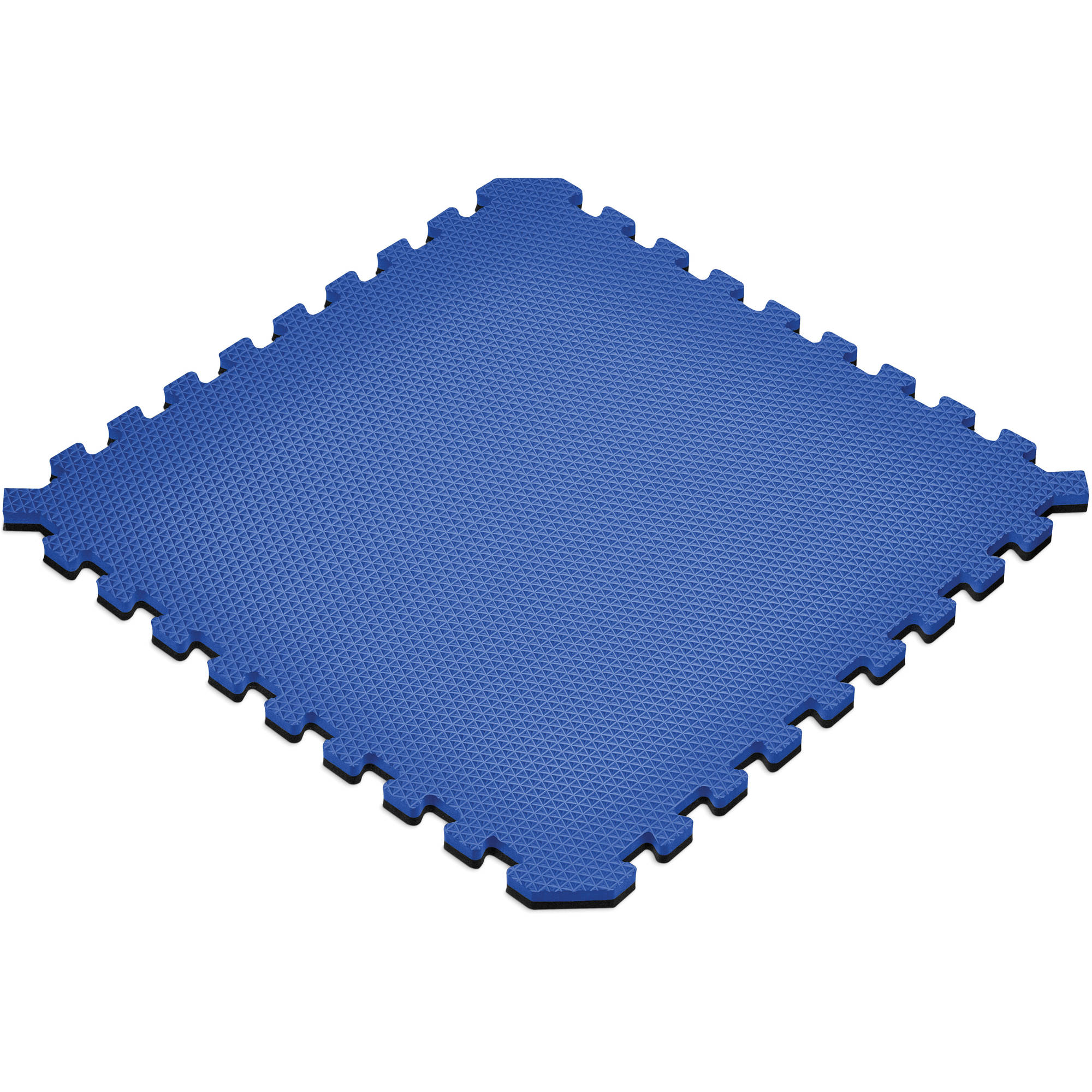 Norsk 16 sq ft Interlocking Foam Floor Mat, 4-Pack, Reversible Black/Blue