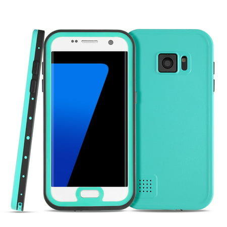 Samsung Galaxy S7 Edge Waterproof Case (Ice Blue) - Underwater Dustproof Snowproof Shockproof Dirtproof Extreme Durable Full Body Protective Case Cover Skin ...
