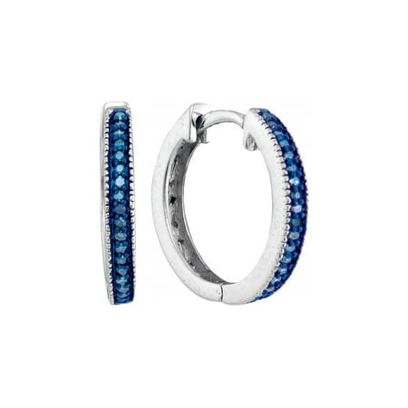 Enhanced Blue Diamond Hoop Earrings 1/10 Carat (ctw Clarity I2-I3) in Sterling Silver - image 1 de 1