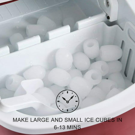 Costway Portable Compact Electric Ice Maker Machine Mini Cube 26lb / Day Red - image 3 of 10