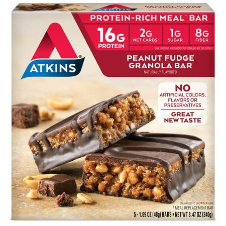Atkins Peanut Fudge Granola Bars, 1.7 Oz, 5 Ct Advantage Peanut Fudge Granola