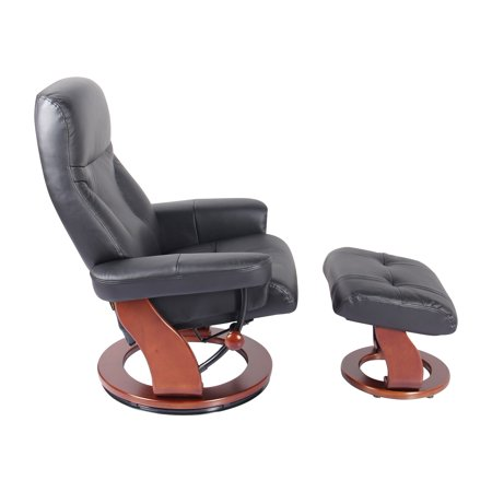 Fine Milano Swivel Recliner Chair Ottoman In Black Ncnpc Chair Design For Home Ncnpcorg