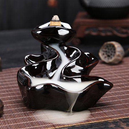 Wedlies Aromatherapy Diffuser Black Flower Backflow Ceramic Incense Burner Holder Buddhist Censer ()