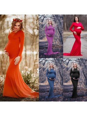 Women's Long Sleeve Pregnancy Maxi Dress