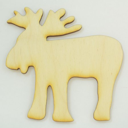"Package Of 50, Moose#2 Wood Cutout 4.15 "" X 4.15 "" To Paint Or Decorate To Finish Craft Project"