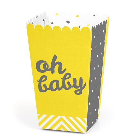 Hello Little One - Yellow and Gray - Neutral Baby Shower Party Favor Popcorn Treat Boxes - Set of 12