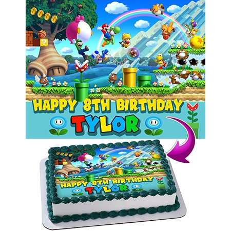 Mario And Luigi Decorations (Super Mario Bros, NES, SNES, Luigi, Joshi, Mario odyssey Edible Cake Image Personalized Toppers Icing Sugar Paper A4 Sheet Edible Frosting Photo Cake Topper)