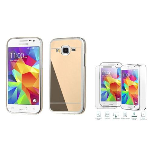 Insten Hard Cover Case For Samsung Galaxy Core Prime - Gold (with Shatter-Proof Tempered Glass Screen Protector)