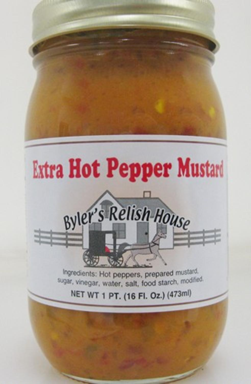 Byler's Relish House Homemade Amish Country Extra Hot Pepper Mustard 16 oz. by Byler's Relish House