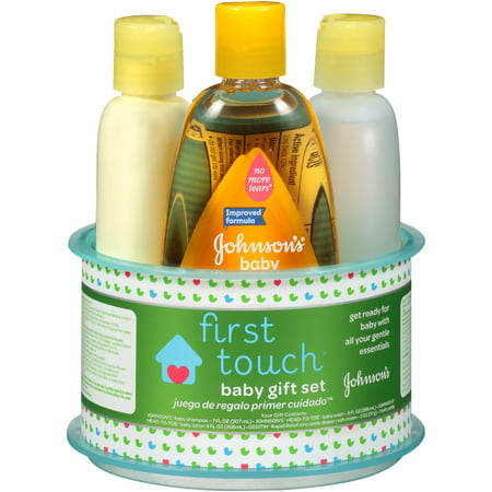 Set JOHNSON First Touch Cadeau, Bain de bébé et le bébé Produits de soins de la peau, 4 articles