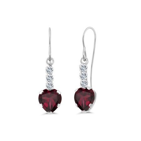 1.68 Ct Heart Shape Red Rhodolite Garnet White Topaz 14K White Gold Earrings