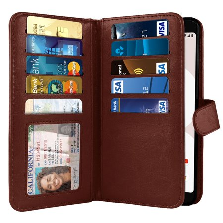 "NEXTKIN Multi Card Slots Double Flap Wallet Pouch Case for Google Pixel 3 5.5"", Burgundy"
