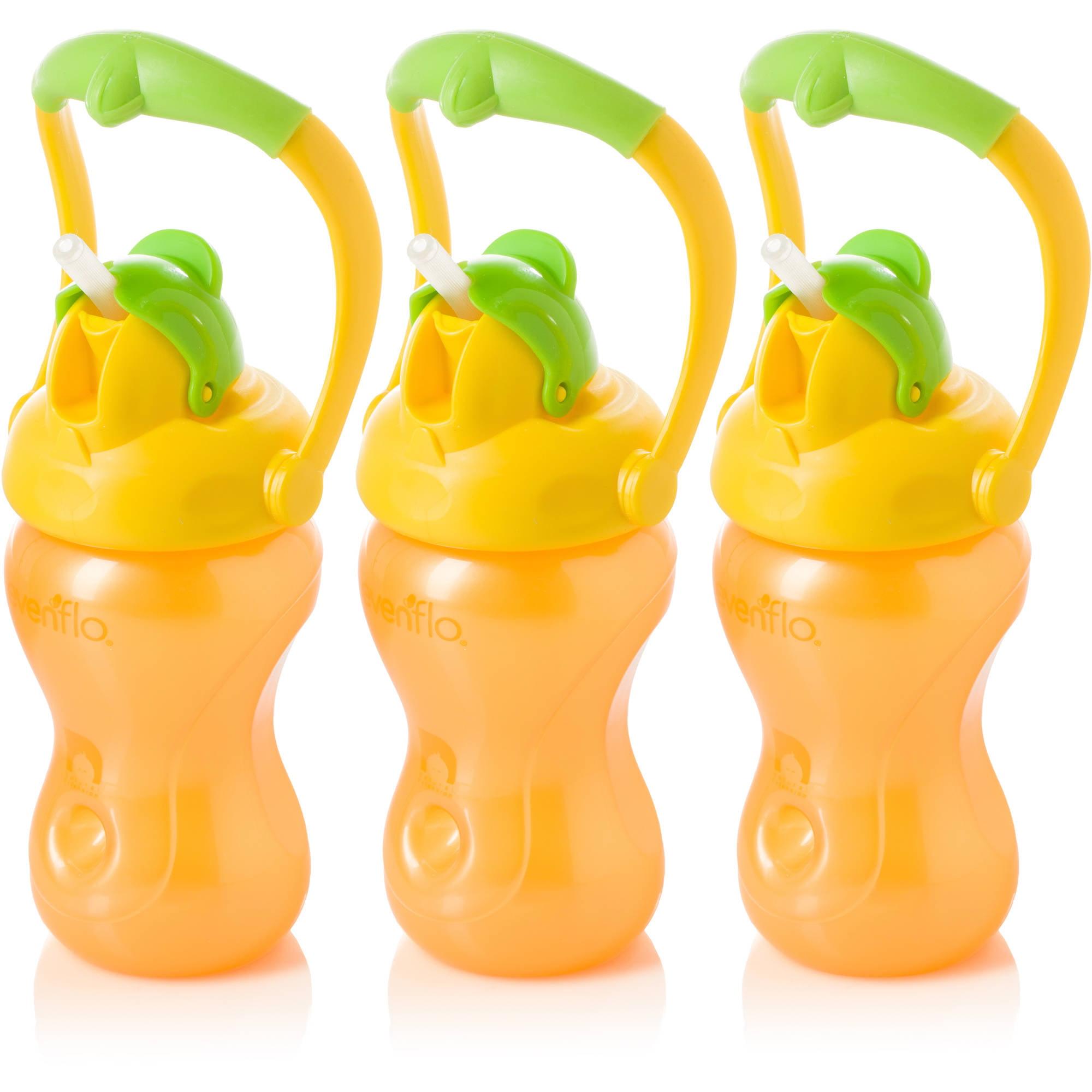 Evenflo Advanced 8oz Swing Handled Straw Cup, 3-Pack, Orange/Yellow Lid, BPA-Free