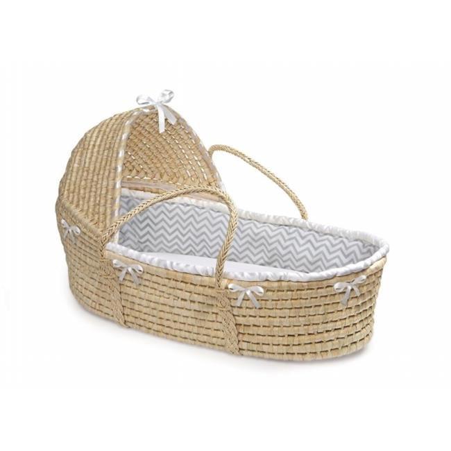 Badger Basket 80888 Natural Hooded Moses Basket with Gray Chevron Bedding by Badger Basket