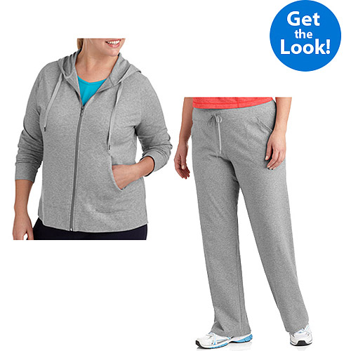 Danskin Now Women's Plus-Size Dri-More Core Athletic Hoodie and Pant Value Bundle