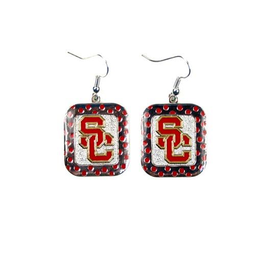 USC Trojans NCAA Polka Dot Style Dangle Earrings