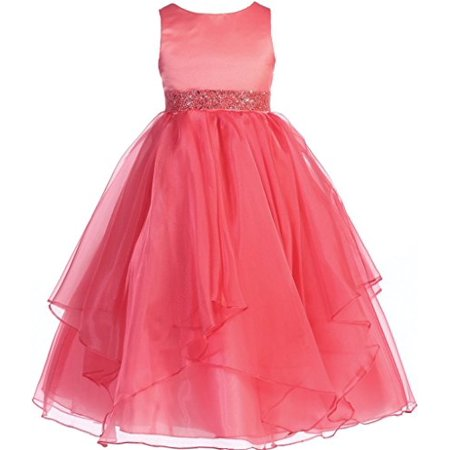 Coral Flower Girl Dresses For Toddlers (Flower Girl Dress Asymmetric Ruffles Satin & Organza Dress Coral 10)