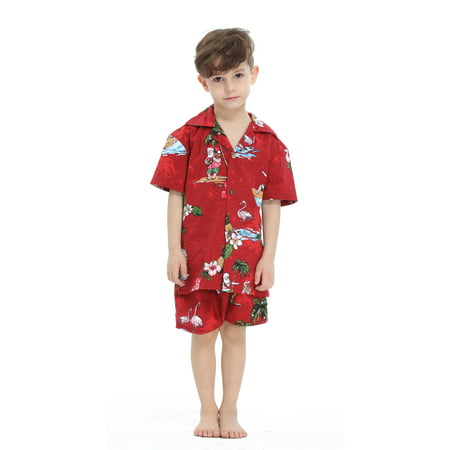 Hawaii Hangover Boy Aloha Luau Shirt Christmas Shirt Cabana Set in Red Santa 4 Year Old - Santa Clothes For Kids