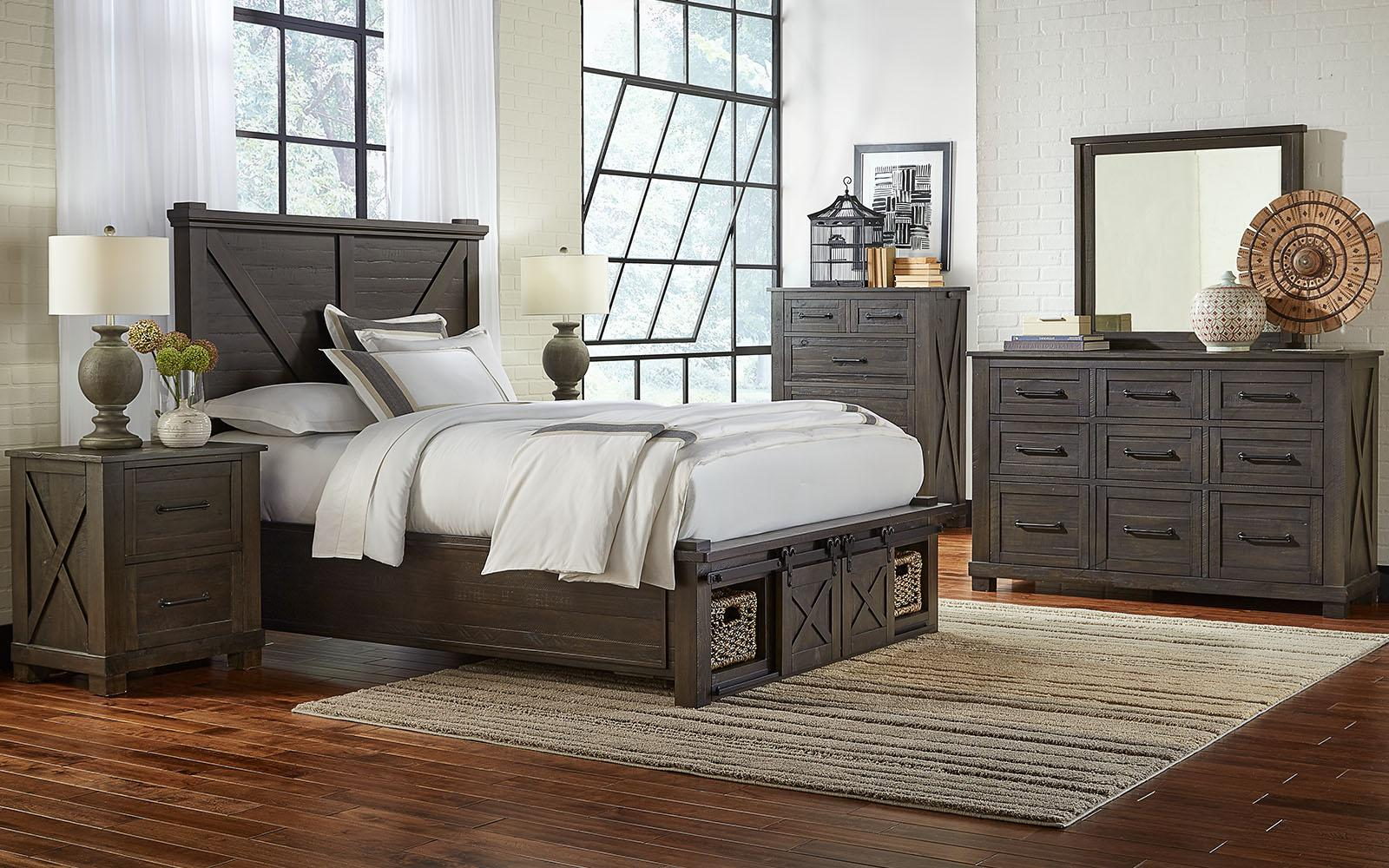 Rustic Queen Rotating Storage Bedroom Set 3Pcs SUVCL5092 A-America Sun  Valley