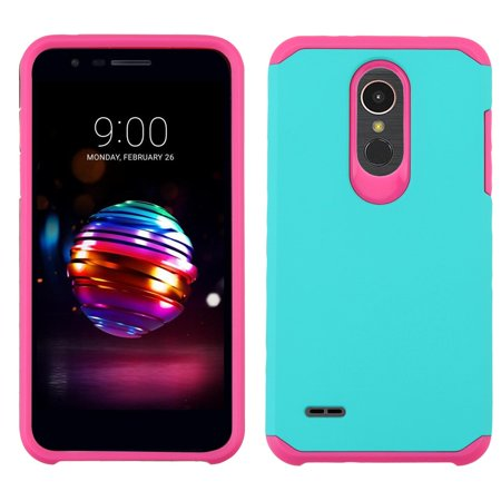 Atronoot Hybrid LG K30 Case with Dual Layer Rubberized Soft Feel Hard Shell Silicone Shock-Proof Protection for LG K30 X410TK (T-Mobile) - Teal / Pink