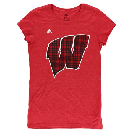 Adidas Womens Wisconsin Badgers College Mad For Plaid T Shirt Red