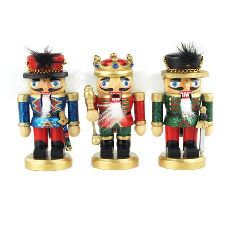 Wooden Nutcracker King Ornaments, 5-Inch, 3-Piece - Nutcracker Ballet Ornaments