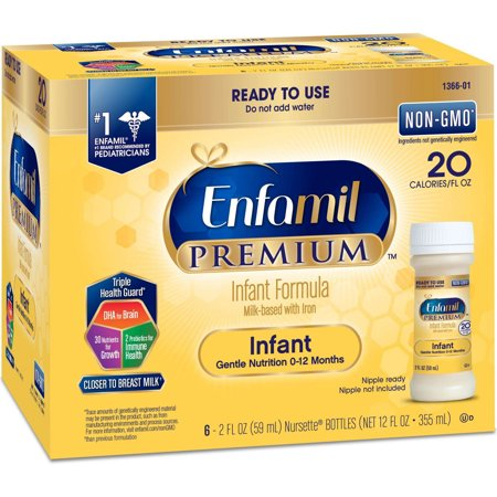 Enfamil PREMIUM Infant Formula, Ready to Use 2 Fluid Ounce Bottles, 6 Pack