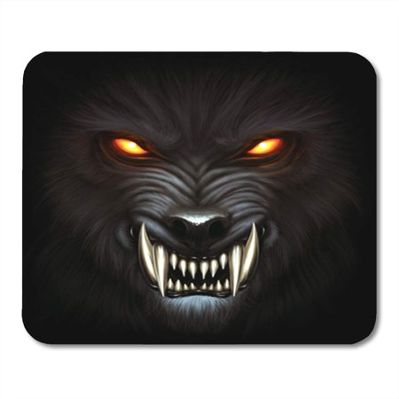 KDAGR Fantasy Angry Werewolf Face in Darkness Digital Painting Fierce Mousepad Mouse Pad Mouse Mat 9x10 inch (Angry Face Painting)