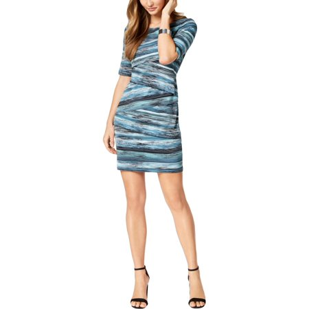 Connected Apparel Womens Petites Tiered Knee-Length Cocktail Dress Blue