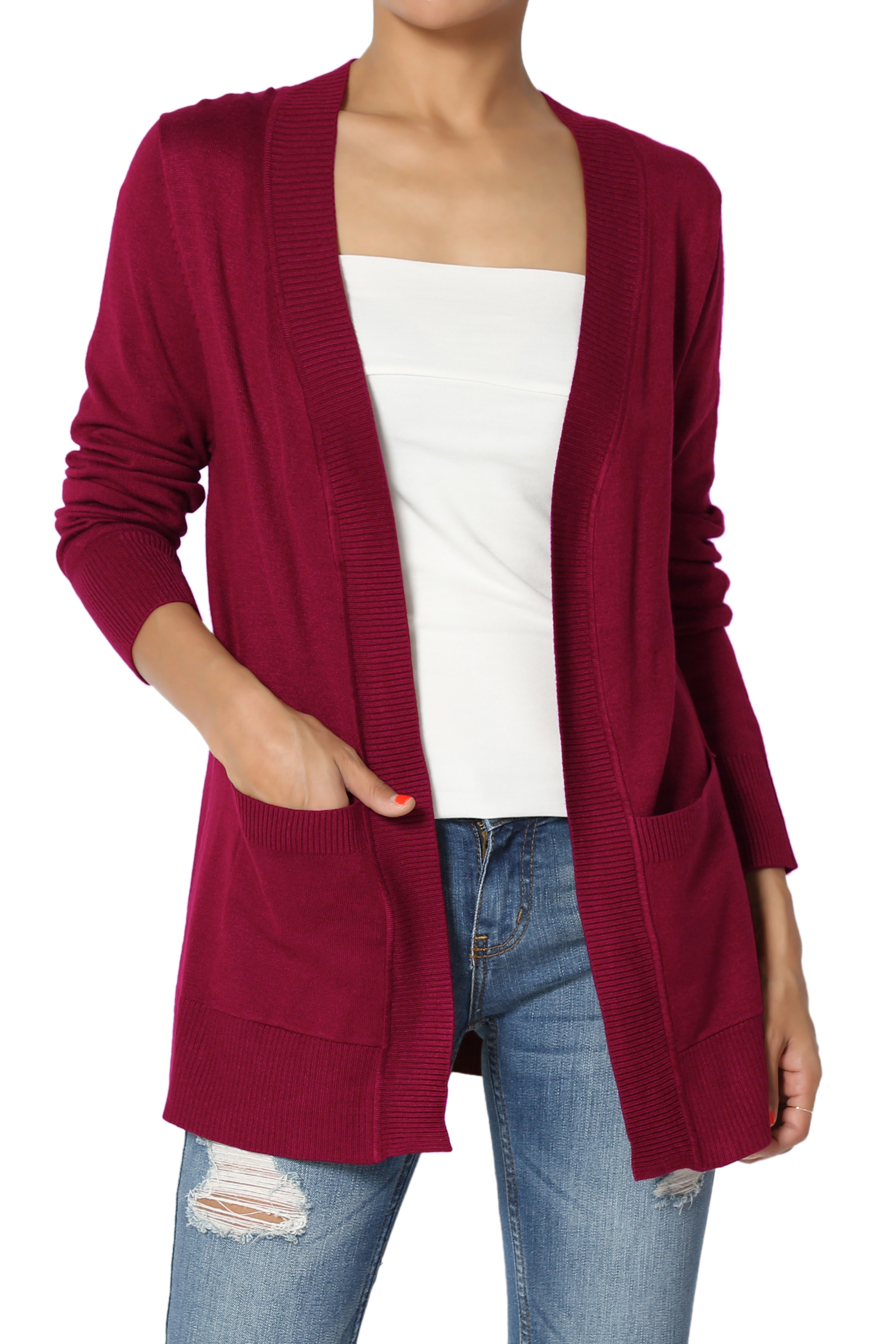 TheMogan Women's Boyfriend Relaxed Fit & Pocket Open Front Knit Sweater Cardigan