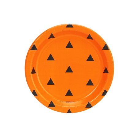 Orange And Black Halloween Colors Represent (Halloween Black and Orange Triangle Dot Dessert Plate (8)