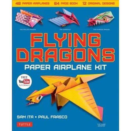 Flying Dragons Paper Airplane Kit  48 Paper Airplanes  64 Page Instruction Book  12 Original Designs  Youtube Video Tutorials