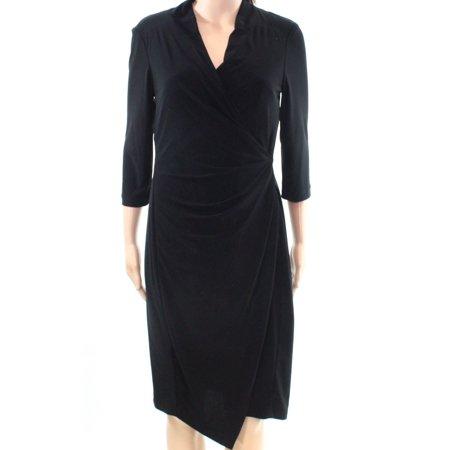 Christin Michaels New Black Womens Size 8 Surplice Jersey Sheath Dress
