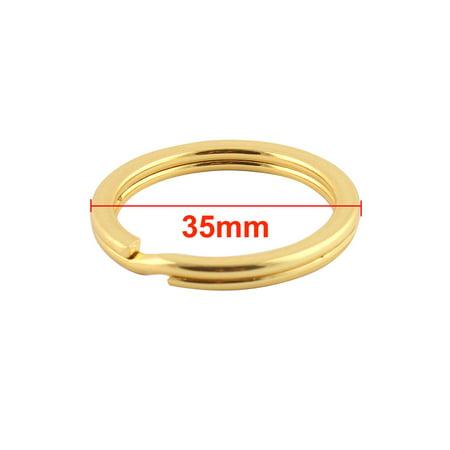 Metal Dual Loop Split Key Ring Keychain Holder Gold Tone 35mm Outside Dia 10pcs - image 2 of 2