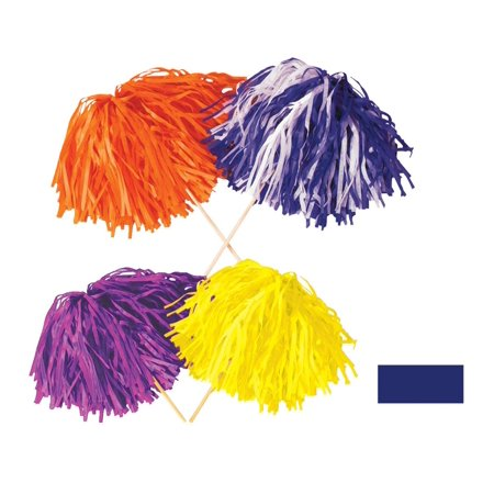 Club Pack of 144 Solid Blue Pep Rally Tissue Shaker Pom Pom Accessories (Halloween Pep Rally Ideas)