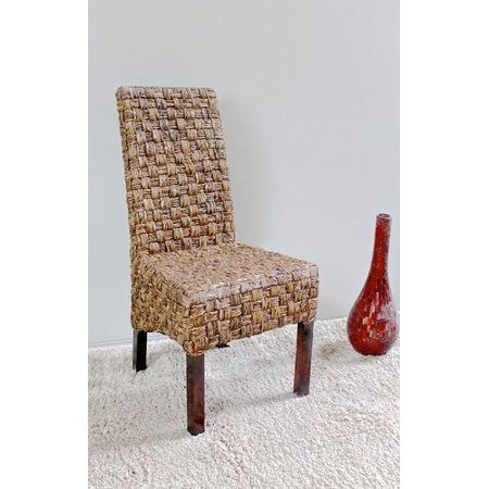 Victor Abaca Basket Weave Dining Chair with Mahogany Hardwood Frame - Salak Brown