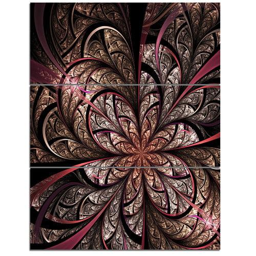 Design Art Glowing Large Fractal Flower Design 3 Piece Graphic Art On Wrapped Canvas Set Walmart Com Walmart Com