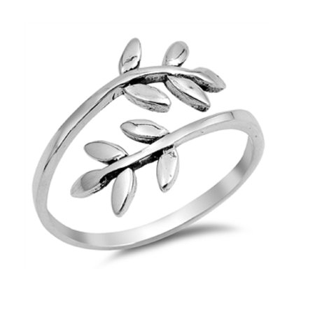 Rings Leaf Clasp - Sterling Silver Leaves & Branches Ring