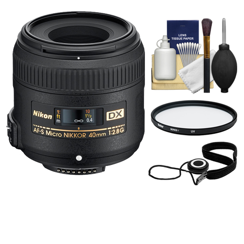 Nikon 40mm f/2.8 G DX AF-S Micro-Nikkor Lens + 3 UV Filter for D3200, D3300, D5300, D5500, D7100, D7200 Cameras