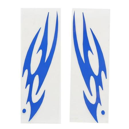 2Pcs Blue Flame Pattern Vinyl Reflective Sticker Decor for Motorcycle Car