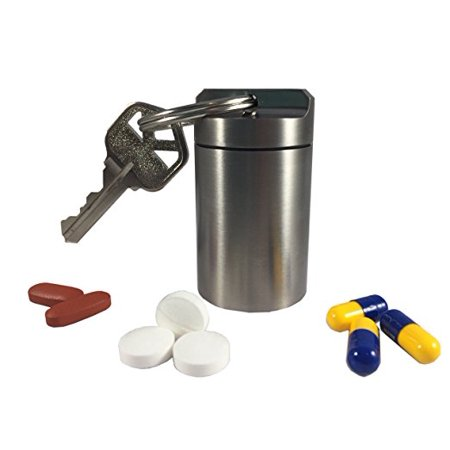 Titanium Single (Titanium Large Single Chamber Waterproof, Airtight, Odor Proof, Keychain Pill Fob Storage Container Case (Polished Finish) )