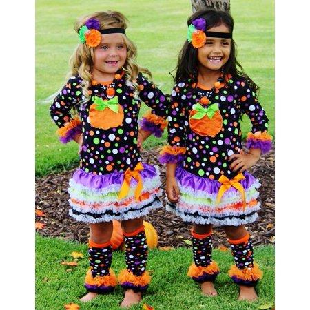 Girls Halloween Pumpkin Dot Dress XL 5-6 yr](Girl Dress Like Boy Halloween)