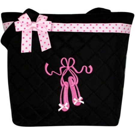 Metal Quilted Handbag (Girl's Black Quilted Dance Ballet Slippers Tote Bag w/ Pink Polka Dot Bow BG806 )