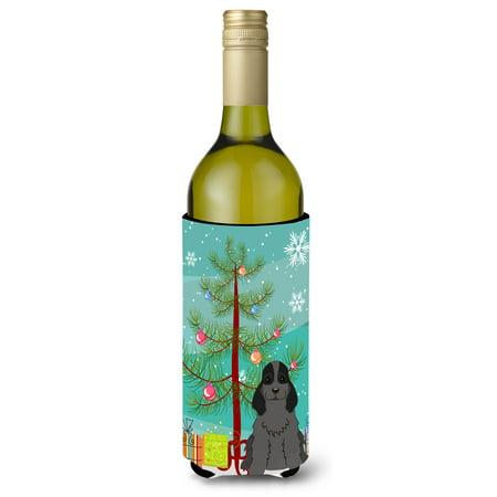 Merry Christmas Tree Cocker Spaniel Black Wine Bottle Beverge Insulator Hugger - Wine Bottle Trees