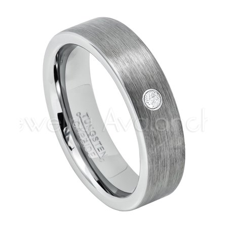 6mm Pipe Cut Tungsten Ring - 0.07ct Solitaire Diamond Ring - Personalized Tungsten Wedding Ring - Custom Made April Birthstone Ring TN019BS ()