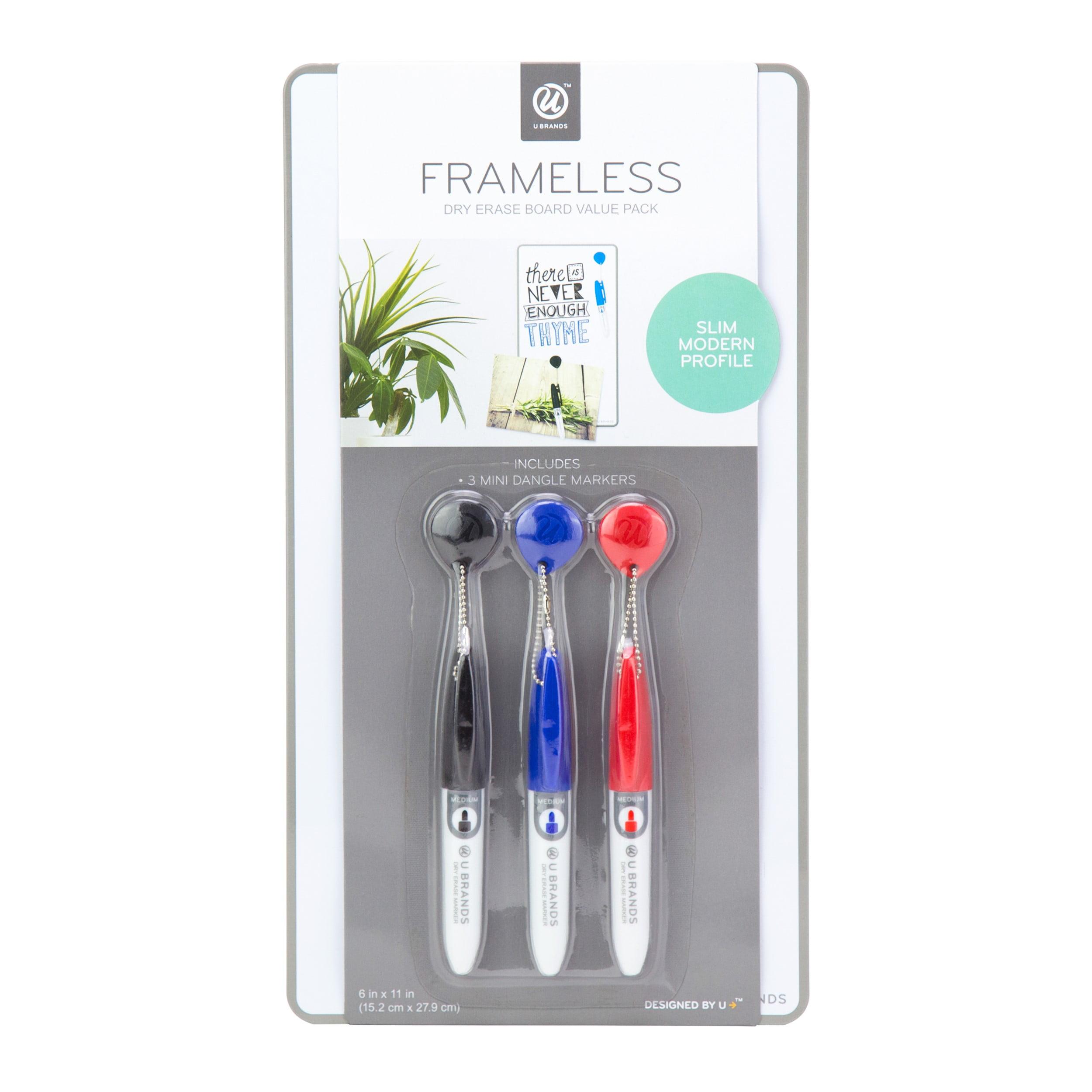 U Brands Magnetic Frameless Dry Erase Board Value Pack, 6 x 11 Inches, Silver Aluminum Frame
