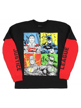 DC Comics Big Boys' Justice League Mock Layer Long Sleeve Tee M(10/12)
